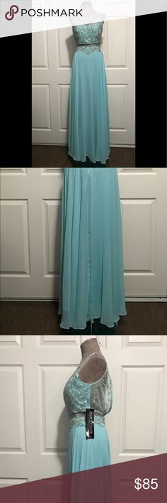 Masquerade Evening Gown/Party Dress NWT, An amazing color, a soft sea foam blue for lack of a better description 😊 The size is 1/2 and small for my mannequin to close the back. The lace and embellishments are breath taking. Masquerade Dresses Prom