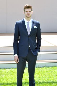 When: 17 June 2014 Where: Burberry Prorsum catwalk show, London, UK  Wearing: Burberry Prorsum suit, Brooks Brothers shirt, Russell & Bromley shoes, Reiss black belt and Aquascutum tie.