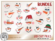 SVG files for Cricut & Silhouette - HD Clipart vectors by NiniGraphicArt Reindeer Face, Snowman Faces, Snowmen, Christmas Svg, Christmas Decorations, Christmas Ornaments, Snowman Decorations, Preschool Christmas, Diy Wedding Projects