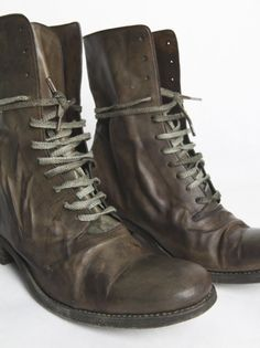 A DICIANNOVEVENTITRE - Kangaroo Leather Combat Boot - ST11 GREY/GREEN - H. Lorenzo