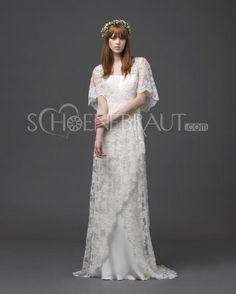 Griechisch Kurz Ärmel Spitzen Hochzeitskleid Bodenlang [#UD8783]