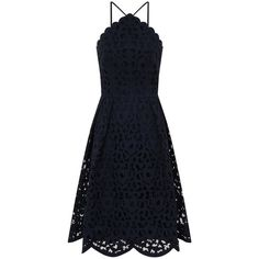Chi Chi London Laser cut midi dress ($81) ❤ liked on Polyvore featuring dresses, navy, women, fit and flare cocktail dress, navy blue cocktail dress, cocktail dresses, fit-and-flare midi dresses and fit and flare midi dress