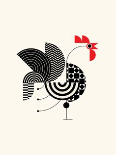 TRÜF : messymod - illustrations and fine art prints Motif Art Deco, Illustration Art, Illustrations, Galo, Art Moderne, Design Studio, Geometric Art, Bird Art, Doodle Art