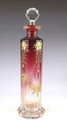 Antiguidade boêmia Moser Cranberry arte vidro frasco De Perfume fragrância (Colônia)