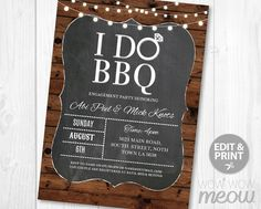 I Do BBQ Invite Couples Shower Engagement Party Invitation INSTANT DOWNLOAD Rustic Barbecue Personalize Lights Digital Editable Printable