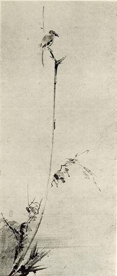 Shrike on a Dead Branch ~ 1640 by Miyamoto Musashi.