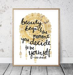 Beauty Begins the Moment You Decide to be Yourself Printable Quote - Coco Chanel Quote - Typographical - Inspirational - Home - Wall Art by MSdesignart on Etsy
