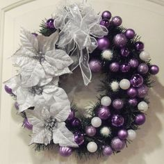 purple and white christmas wreath holiday by christmas decor - Purple And Silver Christmas Decorations