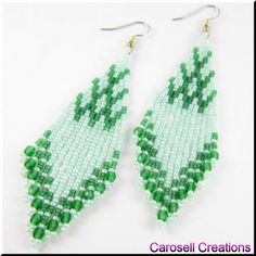 Czech Point Native American Style Seed Beaded Earrings TAGS - Jewelry, Earrings, Dangle, brick stitch, carosell creations, pierced, accessories, weaved, woven, glass, seed beads, green, fringe, fire, polished, czech, holiday gift idea, long, ladies fashion, off loom, flowing, shoulder dusters, beaded, chandelier, women, southwestern, native american indian
