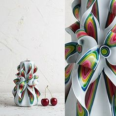 Small Red and White  Gentle colors  Decorative carved candle  EveCandles * Be sure to check out this awesome product.