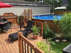 49 Trendy Ideas Patio Piscine Hors Terre Et Spa Backyard Pool Designs, Small Backyard Patio, Backyard Playground, Diy Patio, Diy Deck, Above Ground Pool Landscaping, Above Ground Pool Decks, Outdoor Landscaping, My Pool