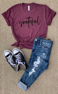 Gratitude shirt grateful cross tee word of the year gifts for her christian spir Cute Teen Outfits, Teenage Girl Outfits, Cute Comfy Outfits, Girls Fashion Clothes, Teenager Outfits, Teen Fashion Outfits, Cute Fashion, Look Fashion, Stylish Outfits