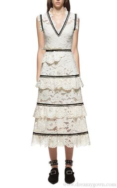 0e68217d1b Self Portrait Style Summer Women Dress 2017 Fashion Runway White Hollow Out  Lace Sleeveless Female Embroidery V Neck Party Dress