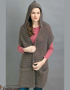 Hooded Scarf with pockets crochet pattern