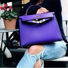 Purple Hermes Kelly Bag This is the exact same purple I was looking for earlier this year. Hermes Birkin, Hermes Bags, Hermes Handbags, Luxury Handbags, Fashion Handbags, Purses And Handbags, Fashion Bags, Designer Handbags, Handbags Online