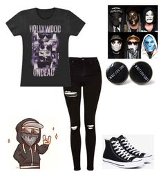 """""""Hollywood Undead"""" by musicqueen72 ❤ liked on Polyvore featuring Topshop and Converse"""