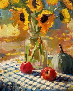 Sunflower Demo still life, plein air, oil painting by Robin Weiss, painting by artist Robin Weiss