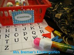 Stamp-a-letter.  Students reach into a drawstring bag and pull out a letter.  Then record the letter they found with a paint dauber. Can match UC to LCD as alternative.