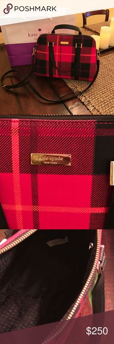 "Kate Spade Small Rachelle Newburyport Lane Plaid♦️ Kate Spade Small Rachelle Newburyport Lane Plaid♦️. This gorgeous bag is the perfect complement to your fall and winter outfit.  Beautiful red plaid with black strap. NO TRADES!  Measures 9.5""H X 13""L X 4.5W kate spade Bags Satchels"