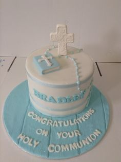 A wonderful Holy Communion cake for a young boy. - Belle's Patisserie