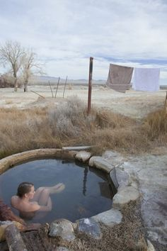 Outdoor warm stone pool