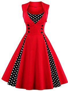 Babyonline Women Vintage Dresses Black Polka Dot 1950s Retro Rockabilly Costume