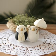 <3 <3 <3 Custom Wedding Cake Topper - Small Hand Painted Love Birds with Parasol. $105.00, via Etsy.