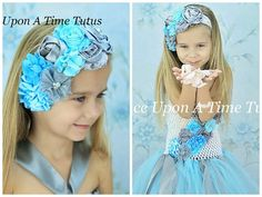 Aqua Gray Couture Satin & Shabby Flower by OnceUponATimeTuTus