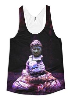 Remain As You Are - Women's Racerback Tank // Axly // An existential Buddha locked in a battle with the elements. True yogi favorite. Flattering A-line cut. 100% polyester jersey. Made in USA.