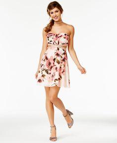 Speechless Juniors' Floral-Print Cutout Strapless Dress, A Macy's Exclusive