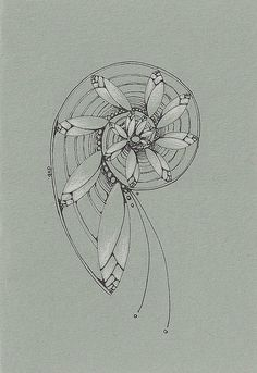 Magnolia Spiral | Deborah's Perspective via Flickr: micron pen and white pencil on grey cardstock