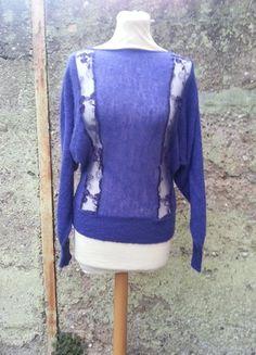 Kaufe meinen Artikel bei #Kleiderkreisel http://www.kleiderkreisel.de/damenmode/pullis-and-sweatshirts-langarmlig/112571106-leuchtend-lilablauer-vintagestyle-pullover-vom-motel-rocks