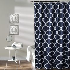 Chic and versatile, this Lush Decor shower curtain is sure to liven up your bathroom with its geometric design. An allover trellis pattern in your choice of navy or taupe adds handsome character to your space.