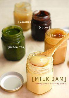 Various Korean milk jam 밀크잼 - 베이킹스쿨(교훈:배워서남주자) Jam Recipes, Sweet Recipes, Dessert Recipes, Cooking Recipes, Korean Cafe, Korean Food, Korean Street, Matcha Milk, Brunch Cafe