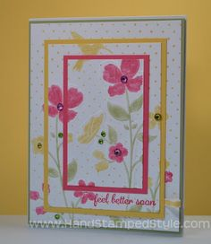 Stampin' Up! Wildflower Meadow Simple Triple Threat Card /like the multiple color layer stock Hand Made Greeting Cards, Get Well Cards, Mothers Day Cards, Card Sketches, Sympathy Cards, Happy Birthday Cards, Scrapbook Cards, Scrapbooking, Card Tags