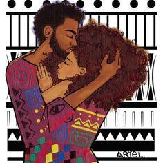 Black love and natural hair love Black Love Art, My Black Is Beautiful, Black Man, African American Artwork, African Art, Tribal African, Natural Hair Art, Natural Hair Styles, Natural Beauty