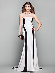 A-line Strapless Court Train Jersey Evening Dress Inspired b... – USD $ 149.99