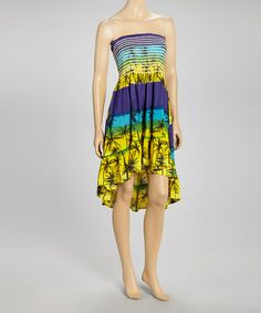 Look what I found on #zulily! Blue & Purple Stripe Strapless Dress #zulilyfinds