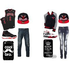 swag outfits with jordans for guys Matching Couple Outfits, Matching Couples, Swag Outfits, Outfits For Teens, Dance Outfits, Fashion Outfits, Polyvore Outfits, Chicago Bulls Outfit, Couple Goals