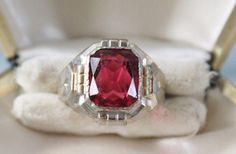 ART DECO vintage STERLING silver Pink RUBY PASTE ring sz 9 3/4 ~ Uncas #uncas #Signet