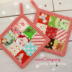 red polka dots on the back.  I was dying to see some of my christmas fabrics in patchwork, and now I can see that a 9 patch won't work for the quilt.  I need bigger chunks of fabric than a 9 patch will allow.  but these came out really cute!