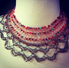 Two of our statement necklaces at StringTheoryDesigns.com - bad moon rising + marianas. Extra bold look.