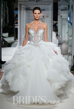 Style 4261 Pnina Tornai for Kleinfeld Wedding Dress 2014 Collection - Two-Piece Strapless Ball Gown with Illusion Bodice