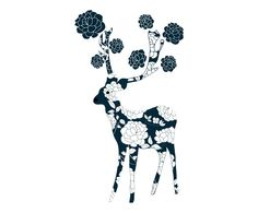 Affiche DEER NAVY papier, bleu marine - A3 | Westwing Home & Living