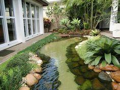 Gorgeous pond/stream Diy Water Fountain, Fountain Lights, Outdoor Fountains, Backyard Water Fountains, Backyard Ponds, Pond Landscaping, Garden Fountains, Pond Ideas, Garden Ideas
