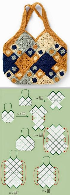 Inspiration :: Granny square bag layout - no specific patterns for squares . . . . ღTrish W ~ http://www.pinterest.com/trishw/ . . . . #crochet #purse #tote