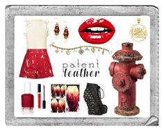 """Fire Hydrant: Patent Leather"" by blondegenius00pinkshadow ❤ liked on Polyvore featuring Polaroid, Sterling Industries, Whimsical Watches, 3.1 Phillip Lim, Valentino, The Bradford Exchange, Bettie Page, Christian Dior and Essie"