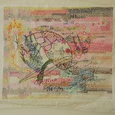 Kjmrarely ( Thread on paper Contemporary embroidery Contemporary Embroidery, Vintage World Maps, Mixed Media, Stitch, Paper, Instagram, Full Stop, Stitches, Costura