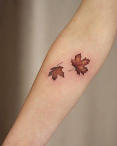 Fall Maple Leaf Tattoos by Cindy van Schie
