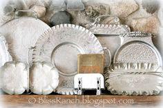 Bliss Ranch: A Mantel of Aluminum. Silver platter mantel scape.@Donna Hunter